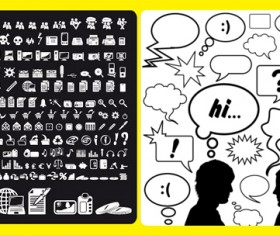 Dialogue with simple icons vector