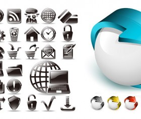 Black and white and three-dimensional Icon vector