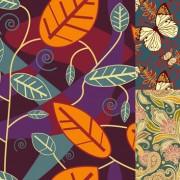 Link toButterfly flower leaves background design vector