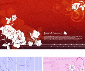 Hand-painted flowers background vector material