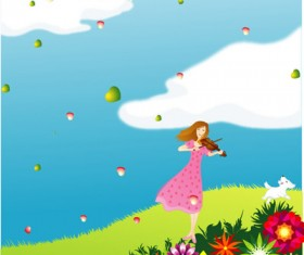 Elements of girl playing the violin Vector