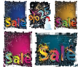 Winter discount sales background vector material