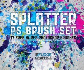 HiRes Splatter PS Brush Set Photoshop Brushes