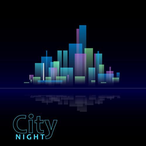 Beautiful night city vector 01