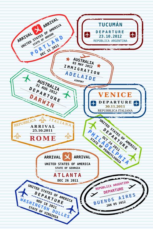 Vector Passport stamps design set 01 free download
