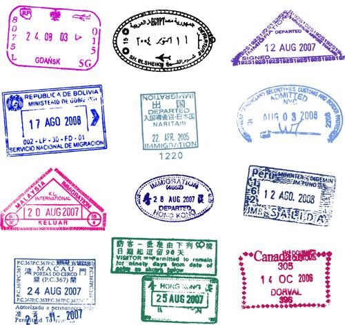 Vector Passport stamps design set 03