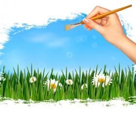 Summer Grass vector background 02