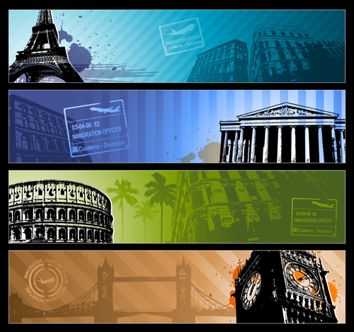 Modern Travel background set 03