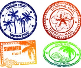 Vintage Travel stamps elements vector 01