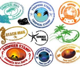 Vintage Travel stamps elements vector 02