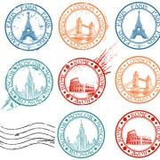 Link toVintage travel stamps elements vector 03