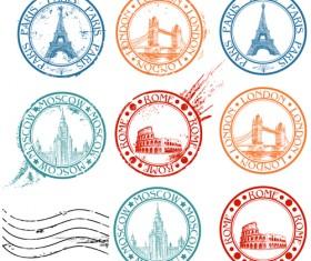 Vintage Travel stamps elements vector 03