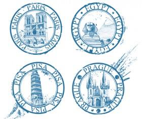 Vintage Travel stamps elements vector 04