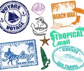 Vintage Travel stamps elements vector 05