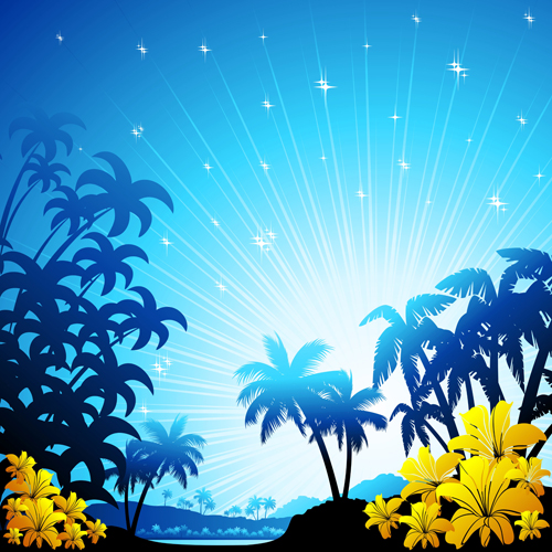 Beautiful Tropic landscape vector 04