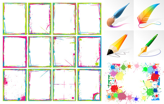Brush And Ink And Color Frame Vector Vector Frames
