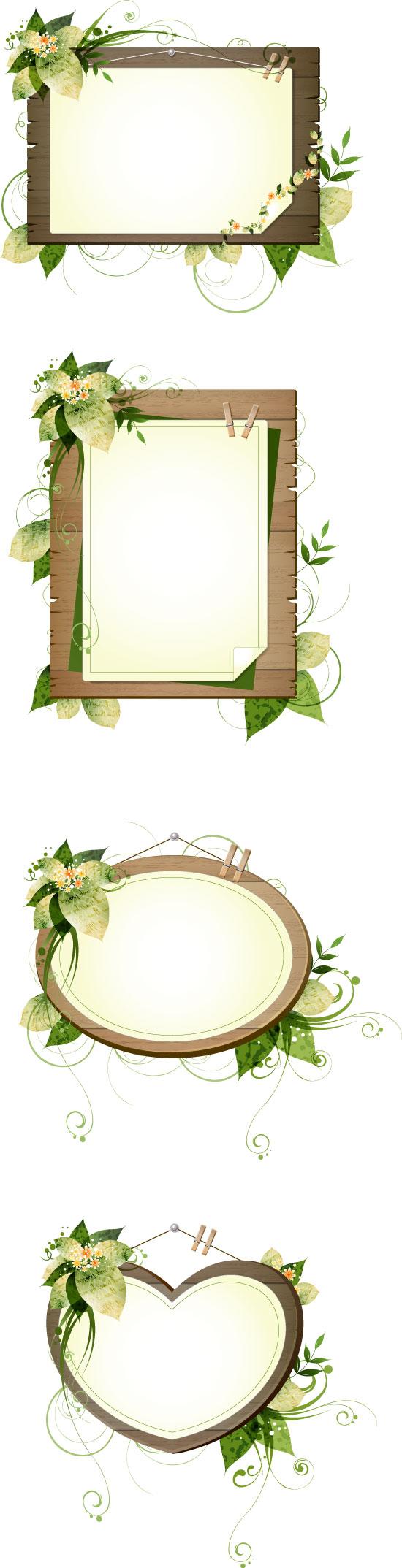 Plant Decorative Wood Frame Vector Vector Frames