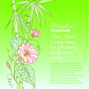 Link toBamboo with flowers vector background 03