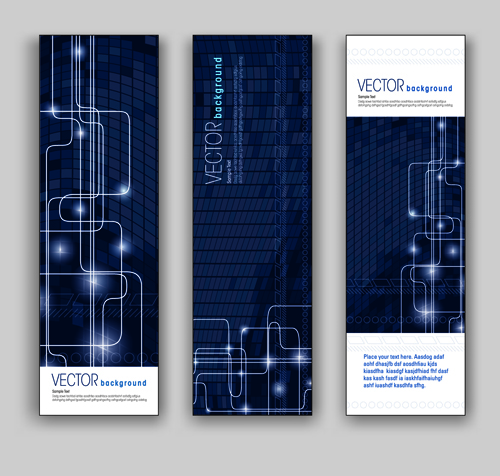 Blue Style Vertical banner vector 05 - Vector Banner free download