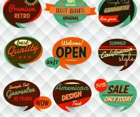 Vintage Bubbles labels vector 01