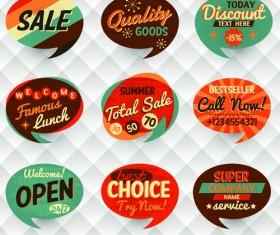 Vintage Bubbles labels vector 04