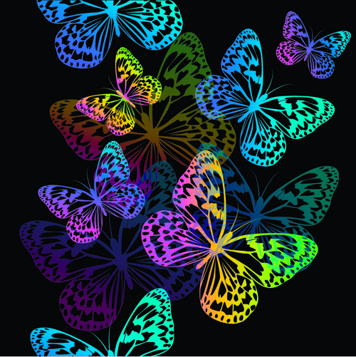 Colorful Butterflies design vector 01