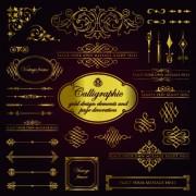 Link toCalligraphy gold design elements vector 02