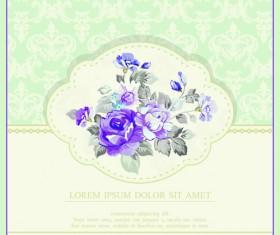 Vintage Flower Congratulation Cards vector 01