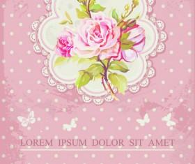 Vintage Flower Congratulation Cards vector 02