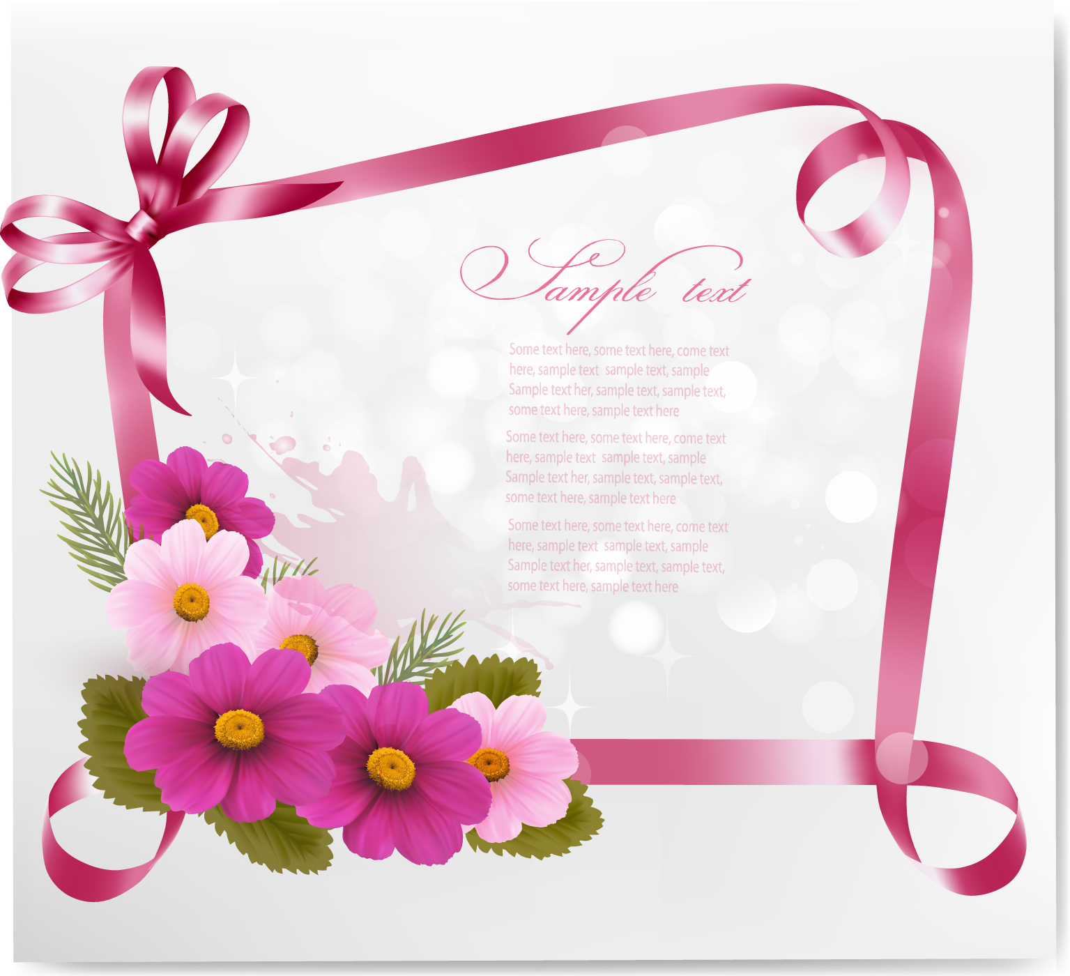 Ribbon With Flower Greeting Card Vector 02 Free Download