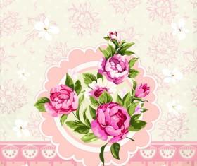Vintage Flower Congratulation Cards vector 03