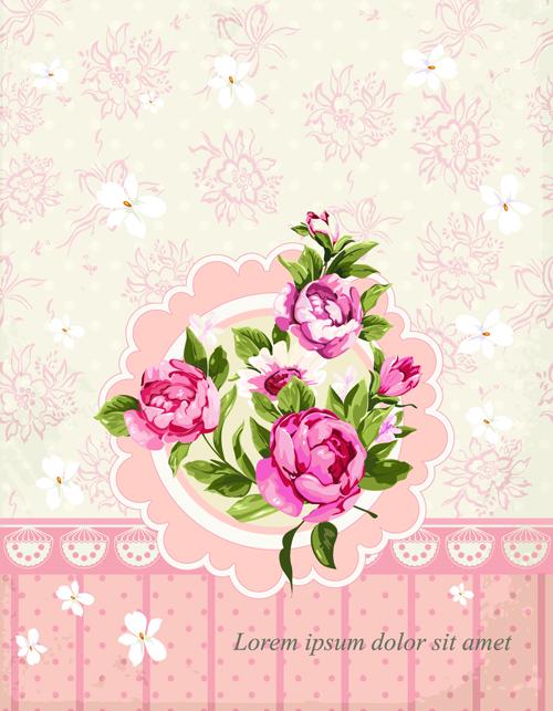 vintage flower congratulation cards vector 03 free download