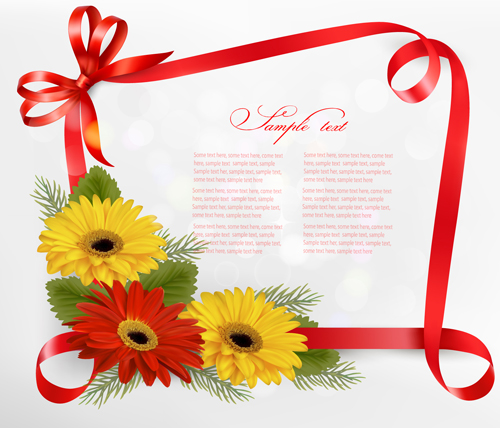 ribbon with flower greeting card vector   vector card, vector, Greeting card