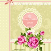 Link toVintage flower congratulation cards vector 04