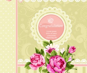 Vintage Flower Congratulation Cards vector 04
