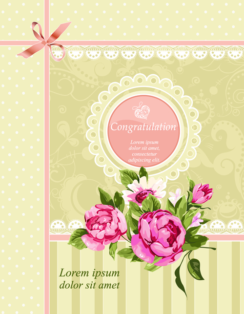 Vintage Flower Congratulation Cards vector 04 Vector Card – Free Congratulation Cards