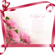 Link toRibbon with flower greeting card vector 04