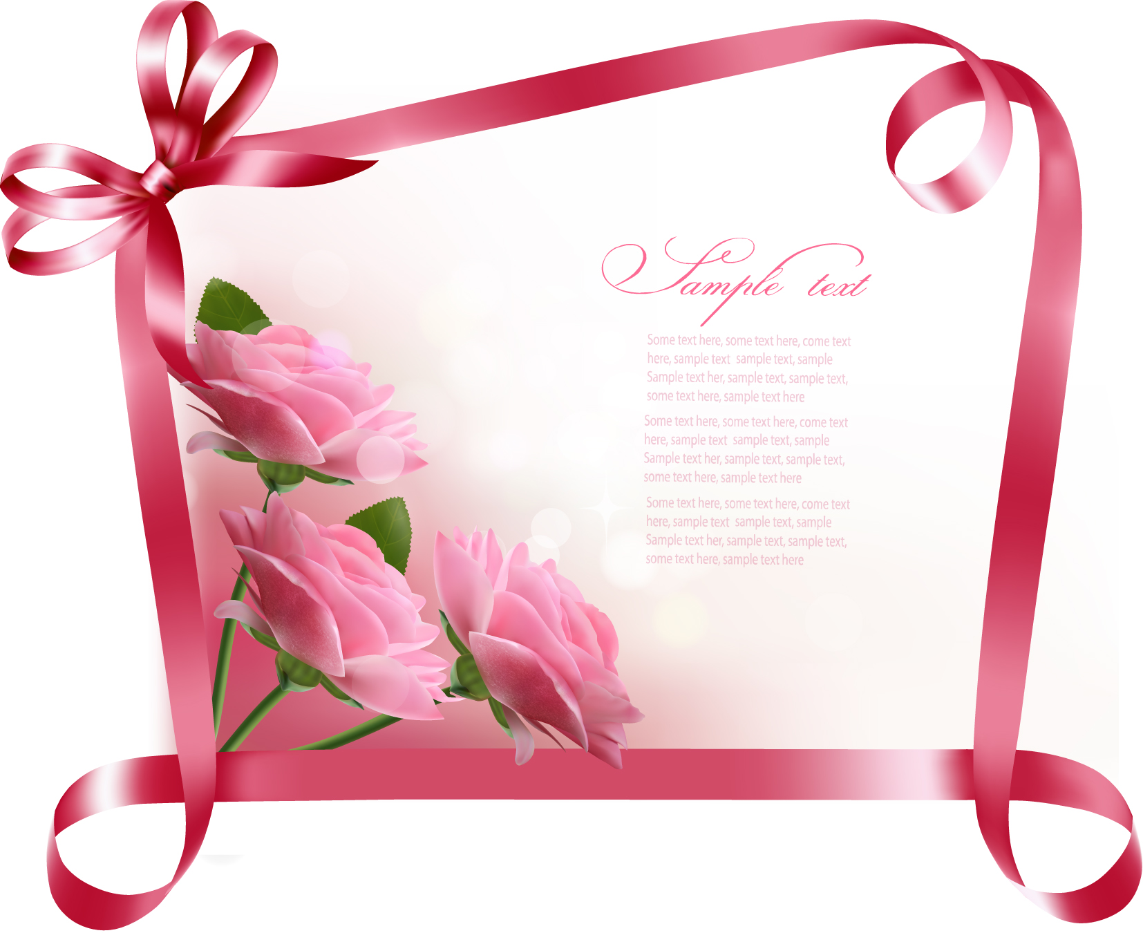 Ribbon With Flower Greeting Card Vector 04 Free Download