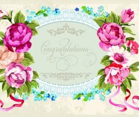 Vintage Flower Congratulation Cards vector 05