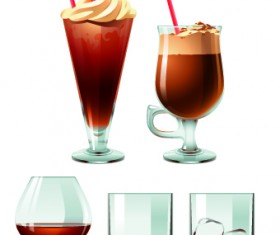 Drinks food vector set 04