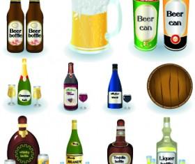 Drinks food vector set 06