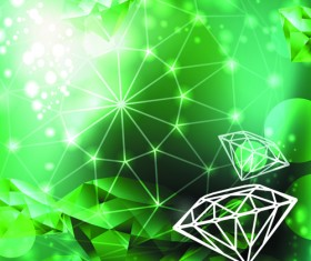 Green Diamond Backgrounds vector 03