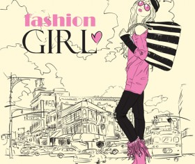 Fashion Girl elements vector set 02