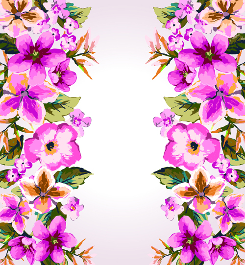 Watercolor Flowers vector 01