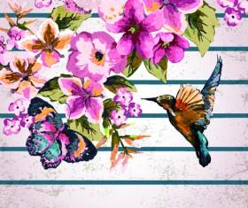Watercolor Flowers vector 02