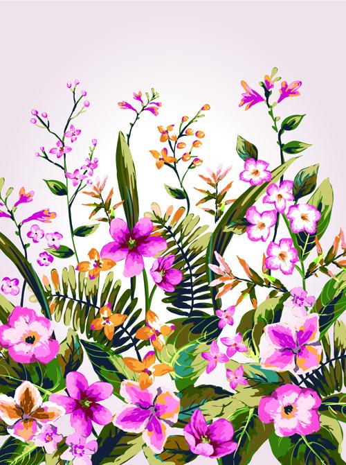 Watercolor Flowers vector 04