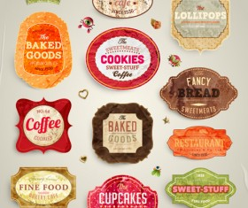 Cute Food Labels design vector 01