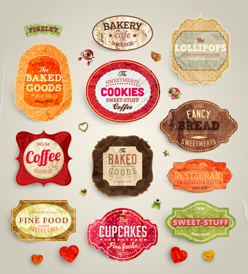 cute food labels design vector 01 free download