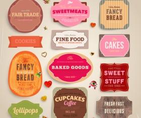 Cute Food Labels design vector 02