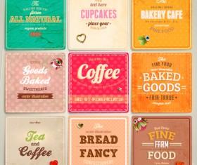 Cute Food Labels design vector 03